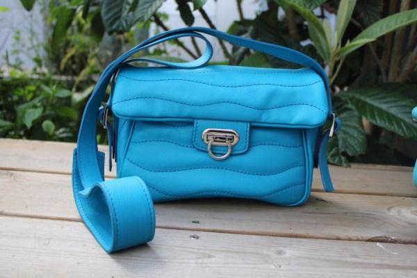 Sac cuir ondulations citadin bleu turquoise bleu