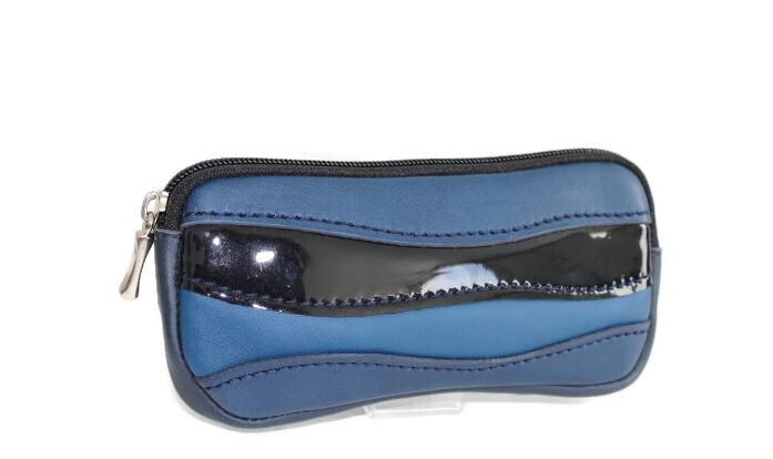 Etui à lunettes pochette/banane cuir bleu et verni noir